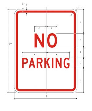 R8-3 No Parking Regulatory Sign Spec
