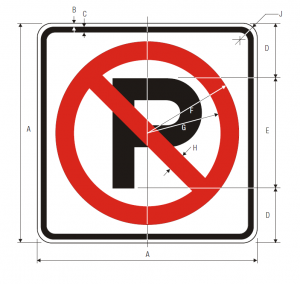 R8-3a No Parking Symbol Regulatory Sign Spec