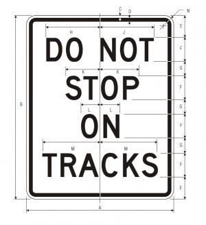 R8-8 Do Not Stop On Tracks Regulatory Sign Spec