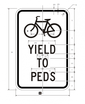 R9-6 Bicyclists Yield To Pedestrians Regulatory Sign Spec