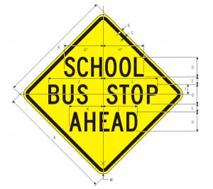 S3-1 School Bus Stop Ahead Sign Spec