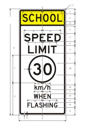 S5-1 School Speed Limit Metric Sign Specs