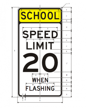 S5-1 School Speed Limit When Flashing English Sign Specs