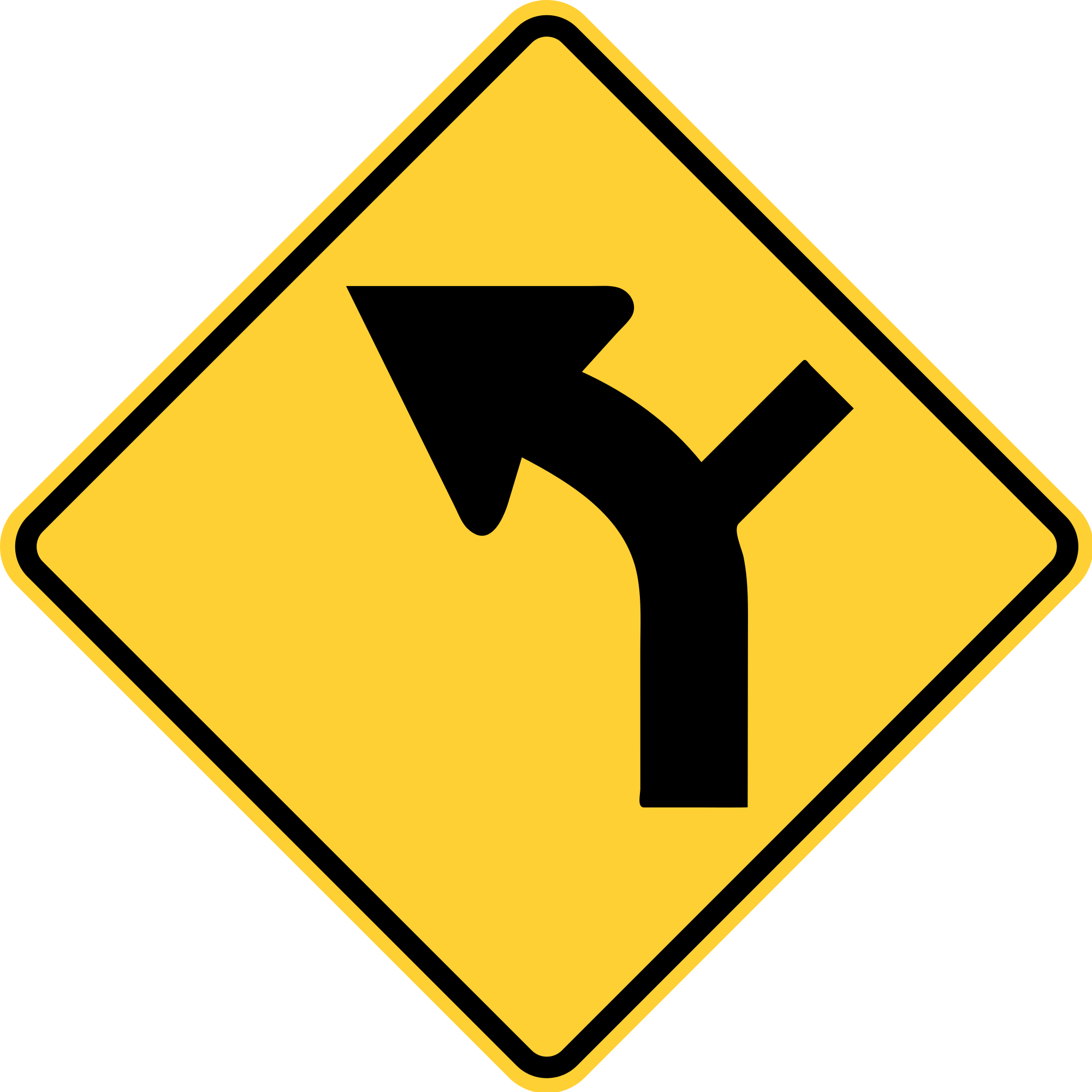 W1-10L Warning Sign