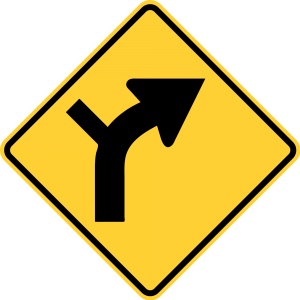 W1-10R Horizontal Alignment Warning Sign