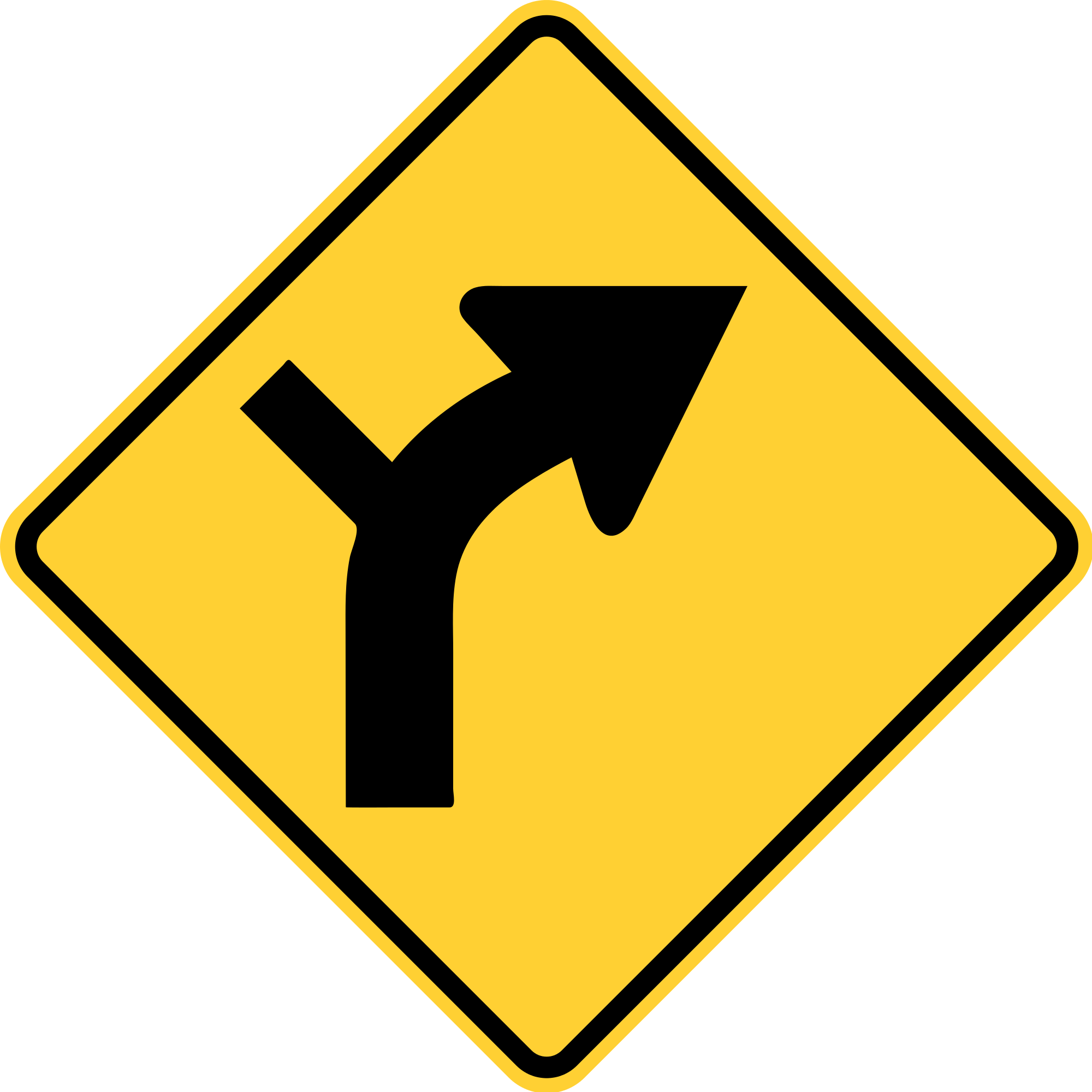 W1-10R Horizontal Alignment Warning Sign