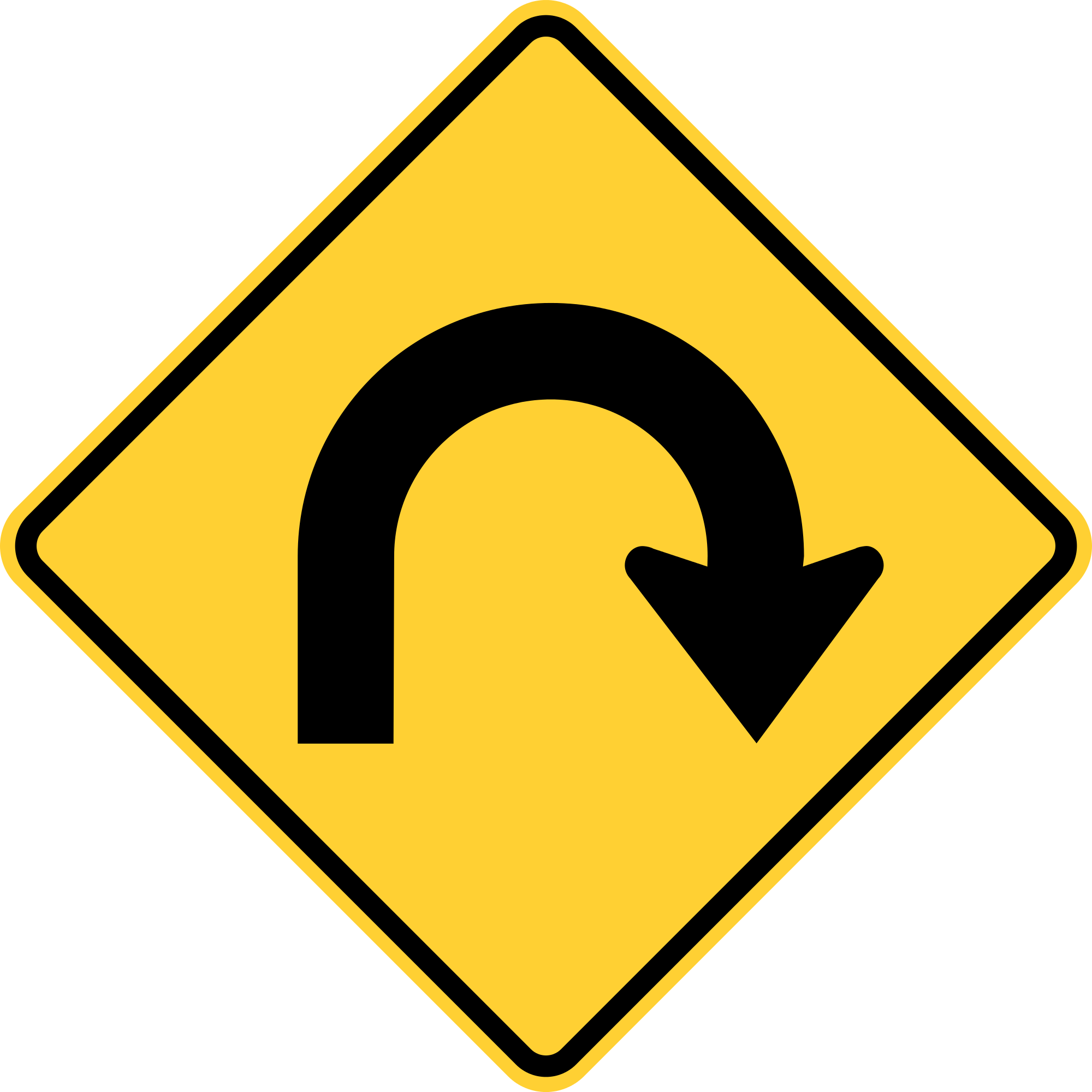 W1-11 Hairpin Curve Warning Sign