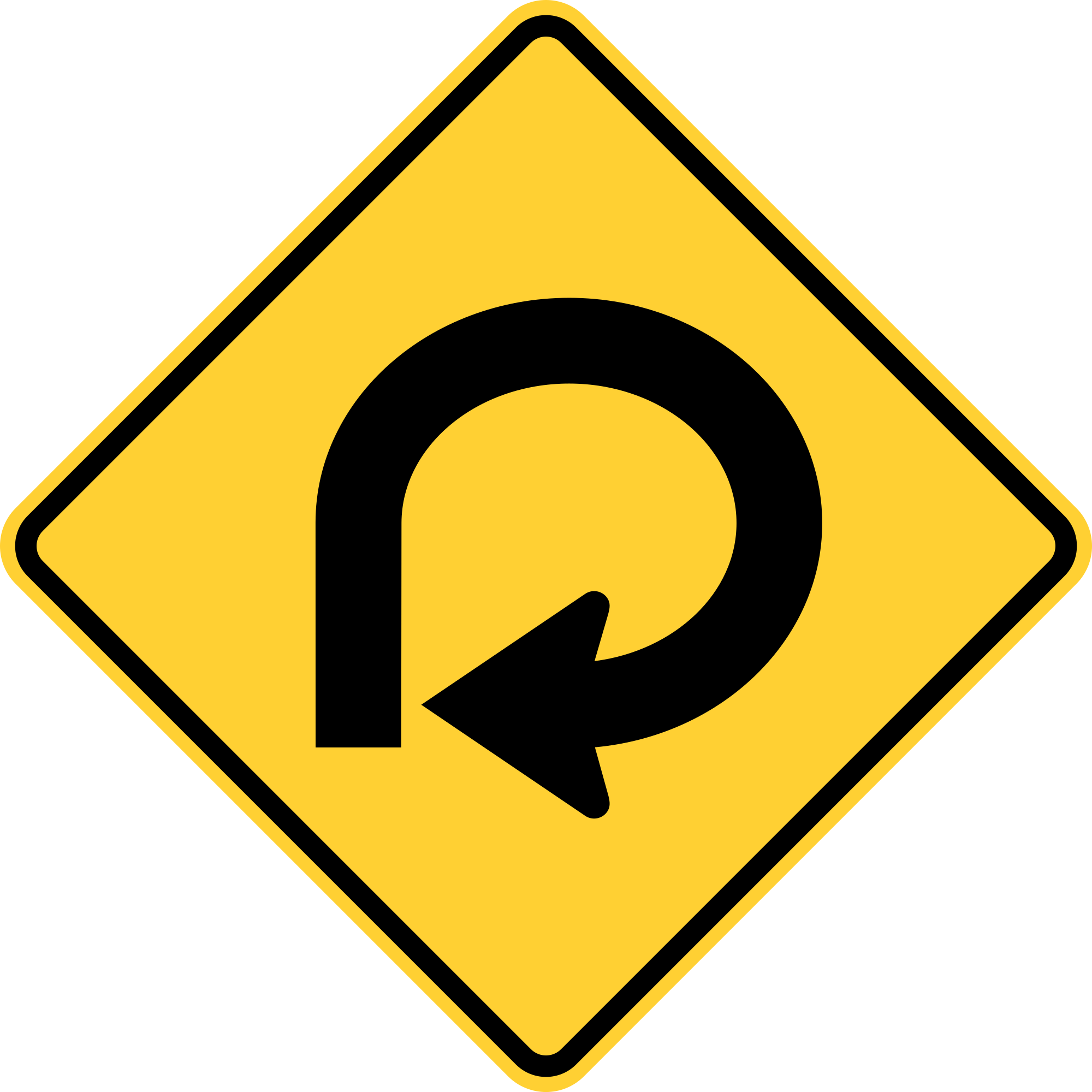 W1-15 270 Degree Loop Warning Sign