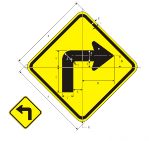 W1-1R Turn Warning Sign Spec
