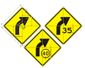 W1-2a R Curve English Warning Sign Spec