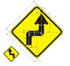 W1-3L Warning Sign Spec