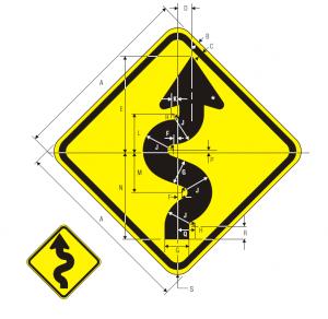 W1-5L Warning Sign Spec