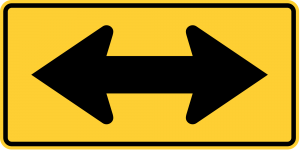 W1-7 Two Direction Large Arrow Warning Sign