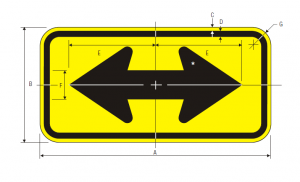 W1-7 Two Direction Large Arrow Warning Sign Spec