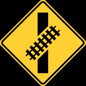W10-12 Skewed Crossing Warning Sign