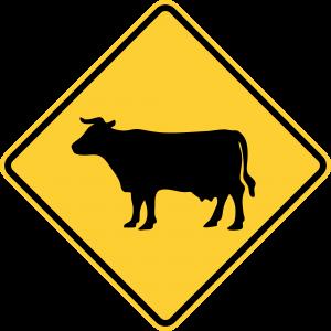 W11-4 Cattle Traffic Warning Sign