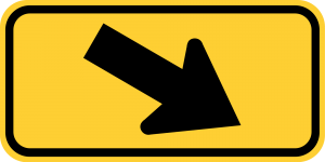 W16-7pR RIGHT DIAGONAL ARROW PLAQUE