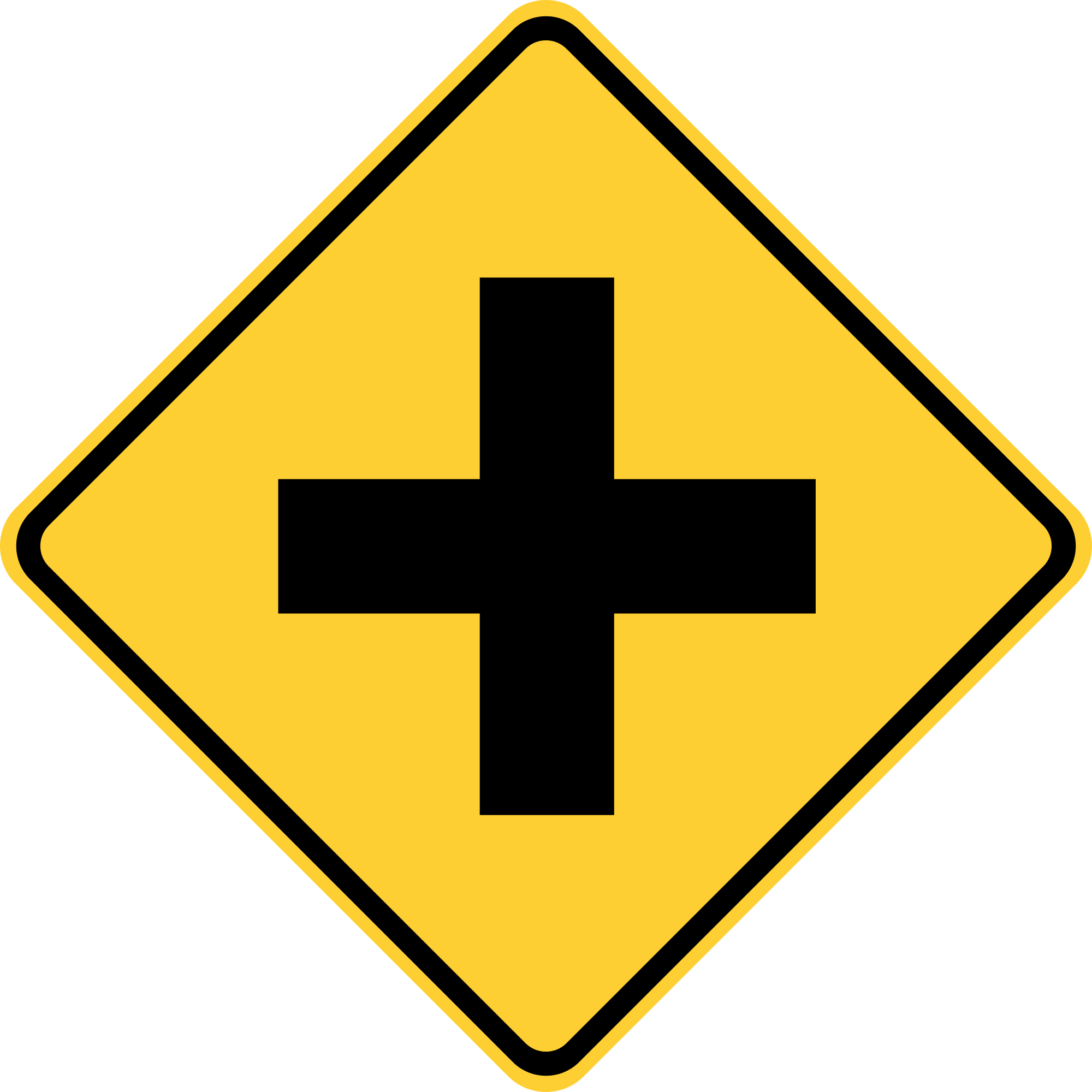 W2-1 Cross Road Warning Sign