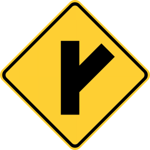W2-3R Side Road Warning Sign