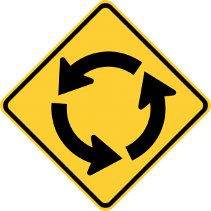 W2-6 Circular Intersection Warning Sign