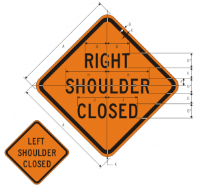 W21-5aR RIGHT (LEFT) SHOULDER CLOSED