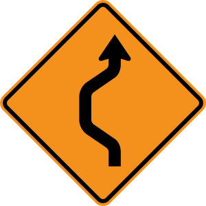 W24-1L Double Reverse Curve 1 Lane Warning Sign