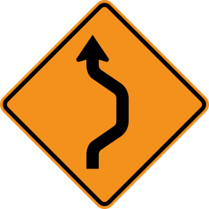 W24-1R Double Reverse Curve 1 Lane Warning Sign