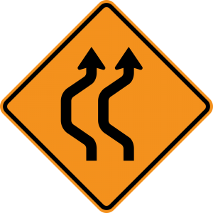 W24-1aL Double Reverse Curve 2 Lanes Warning Sign