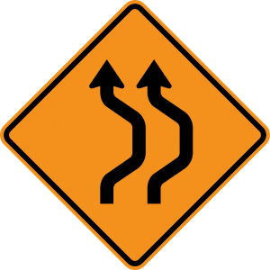 W24-1aR Double Reverse Curve 2 Lanes Warning Sign
