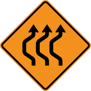 W24-1bL Double Reverse Curve 3 Lanes Warning Sign LANES)