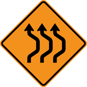 W24-1bR Double Reverse Curve 3 Lanes Warning Sign