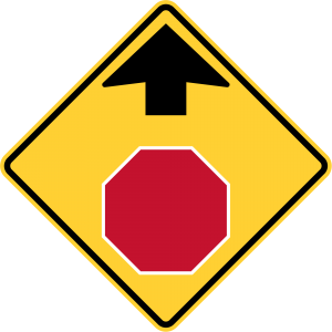 W3-1 Stop Ahead Warning Sign