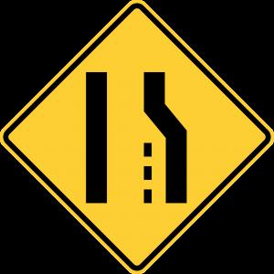 W4-2R Lane Ends Warning Sign