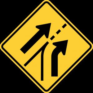 W4-6 Entering Roadway Added Lane Warning Sign
