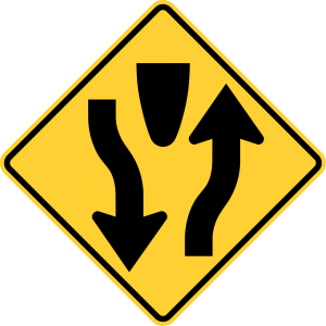 W6-1 Divided Highway Warning Sign