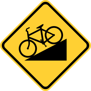 W7-5 Bicycle Hill Plaque Warning Sign