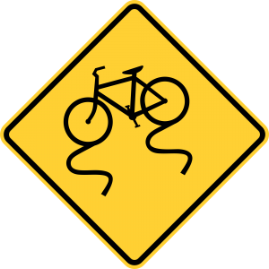 W8-10 Bicycle Slippery When Wet Warning Sign