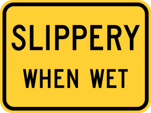 W8-10a Bicycle Slippery When Wet Plaque Warning Sign