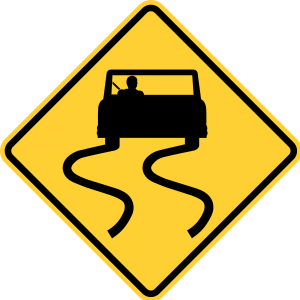 W8-5 Slippery When Wet Warning Sign