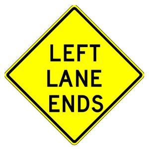 W9-1L Left Lane Ends Warning Sign