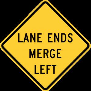 W9-2L Lane Ends Merge Left Warning Sign
