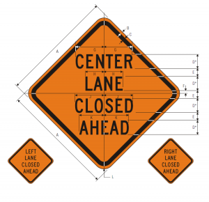 W9-3 CENTER (RIGHT) (LEFT) LANE CLOSED AHEAD and W9-3L and W9-3R