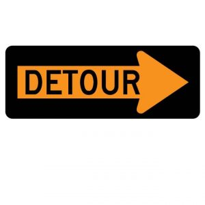 M4-10R Detour Inside Arrow Warning Sign