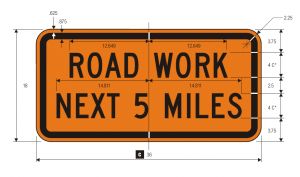 G20-1 Road Work Next 5 Miles Warning Sign Spec