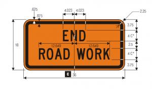 G20-2 End Road Work Warning Sign Spec