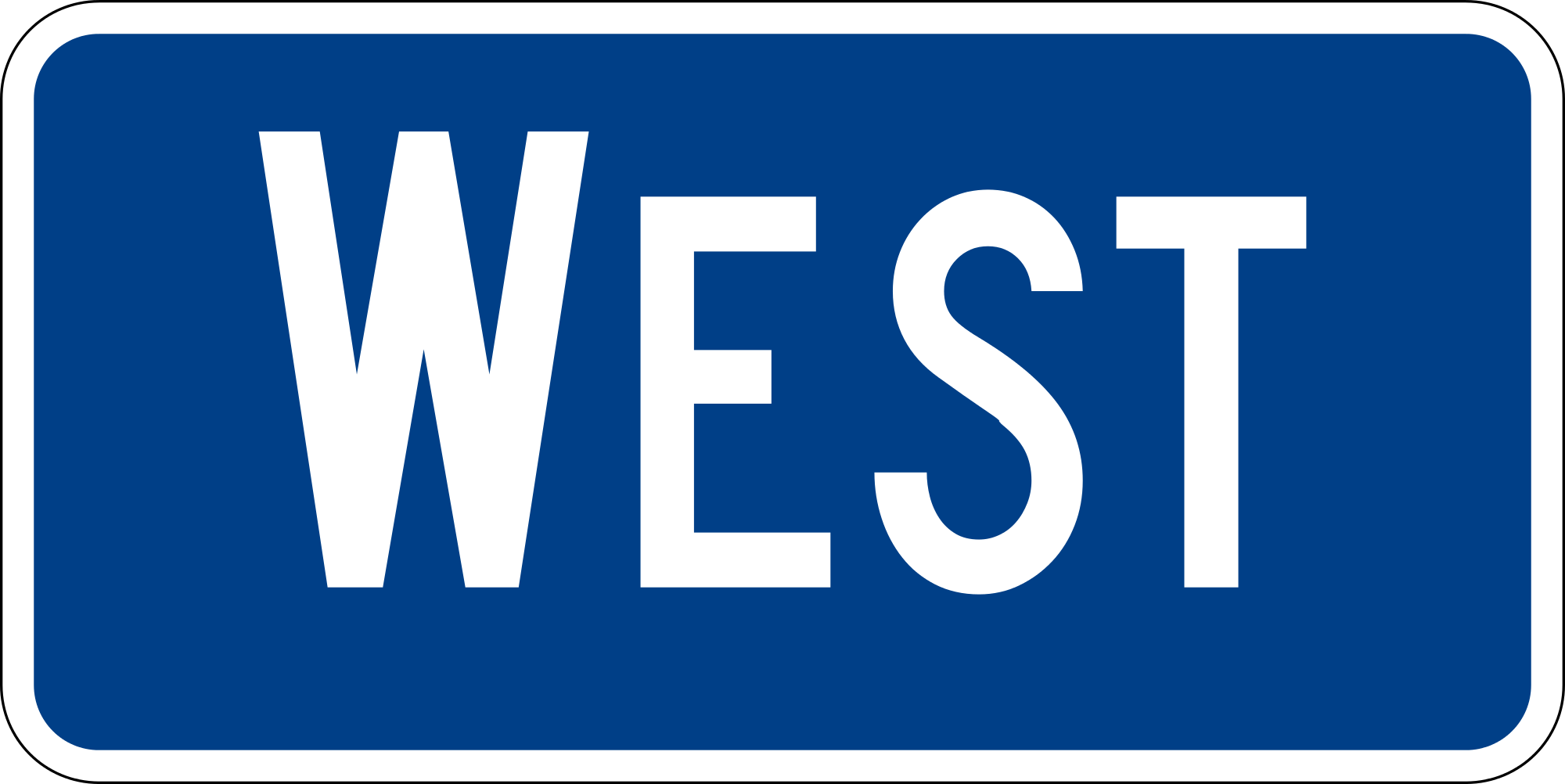 M3-4 Interstate Cardinal Direction Auxiliary Guide Sign