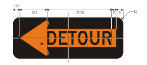 M4-10L Detour Inside Arrow Warning Sign Spec