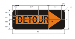 M4-10R Detour Inside Arrow Warning Sign Spec