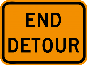 M4-8a End Detour Warning Sign