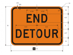 M4-8a End Detour Warning Sign Spec